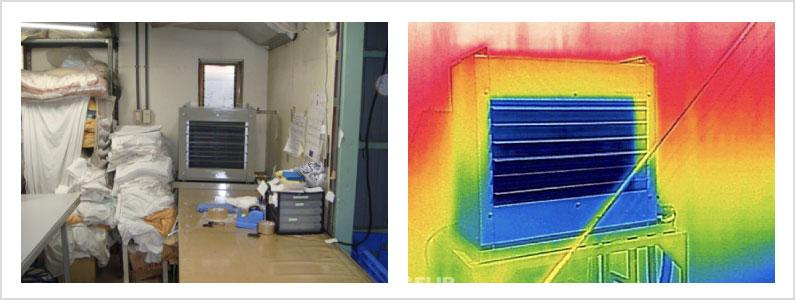 井水式スポットクーラー設置イメージとサーモグラフィー