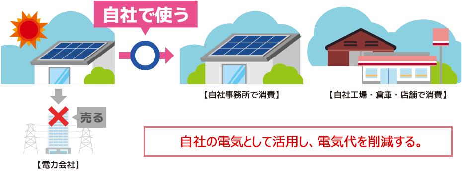 自社の電気として活用し、電気代を削減する。